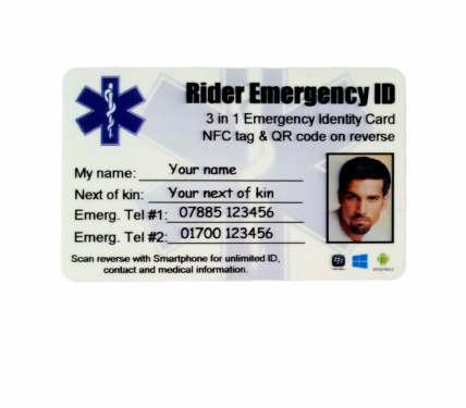 motorcycle rider wallet identity card with SMART technology. NFC embedded card gives paramedics full access to next of kin emergency medical information and medications history