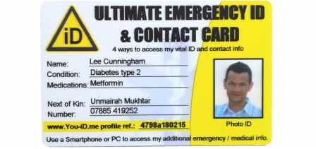 Ultimate emergency ID identity card offers four ways to access your emergency ID profile