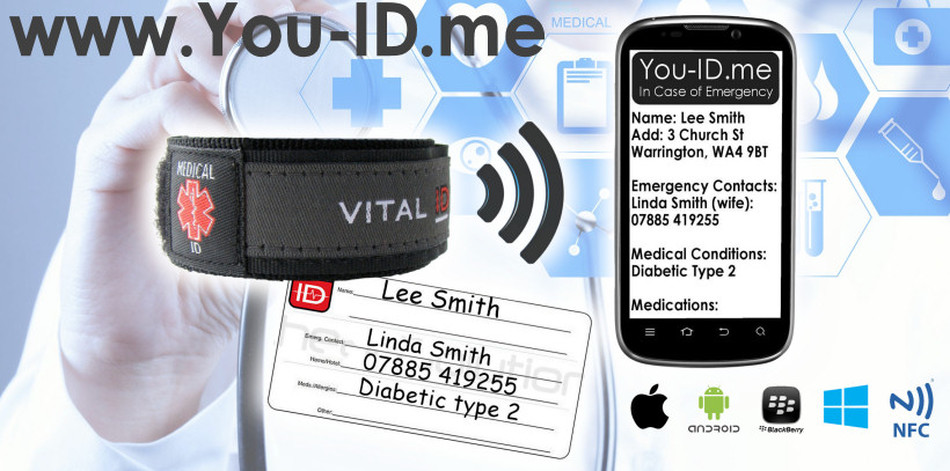 Range of medical ID Wristbands that alert your next of kin and emergency contacts