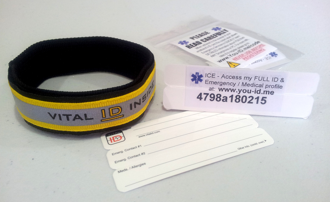 coded sports emergency identity wristband great for lone runners and especially cyclists who rarely take ID with them when cycling.