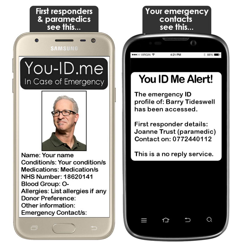 You ID Me in case of emergency. Quikly informs paramedics and alerts your emergency contact's mobile phone.