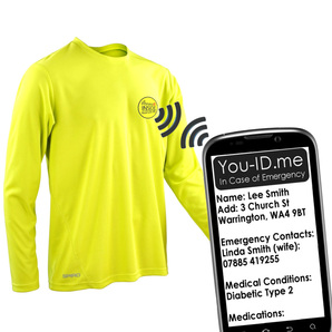 Identity embedded sports running top. Electronic ID running top. Wearable tech by Fitness ID