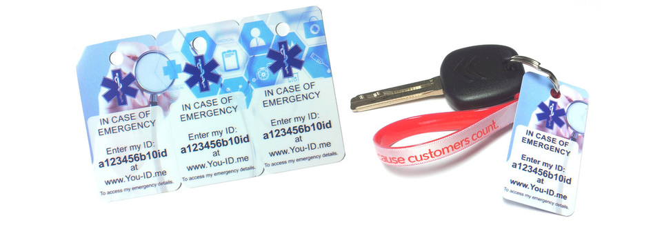 ICE key ring fob medical emergency identity keyring with You-ID.me In case f Emergency