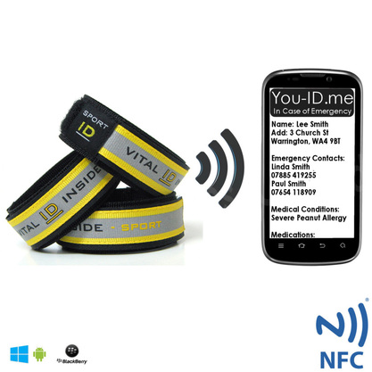 Sport Safety ID Wristband NFC RFID Enabled for use with Smartphones and NFC devices latest technology