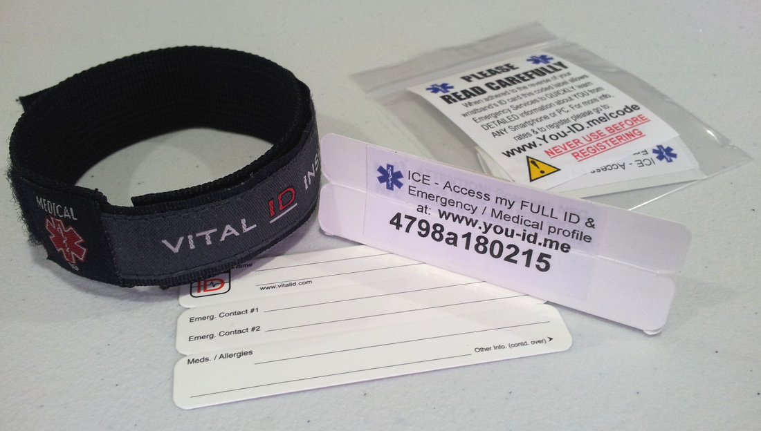 Our coded ID wristband solution makes wearers safer by carrying a code that can allows paramedics to access your FULL medical profile in the event of an emergency from any smartphone of PC.