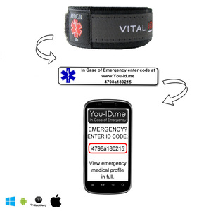 Coded ID Wristband for Medical reasons bracelet wrist band with barcoded label