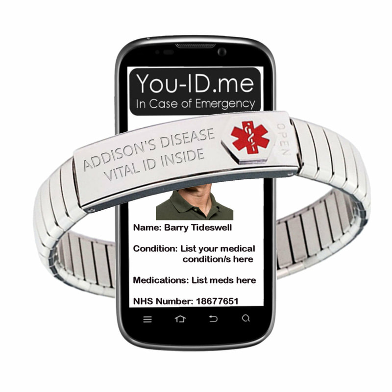 Addison's disease stainless steel medical alert bracelet Unisex