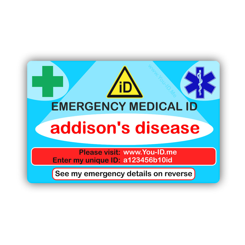 Addison's Disease medical alert awareness card