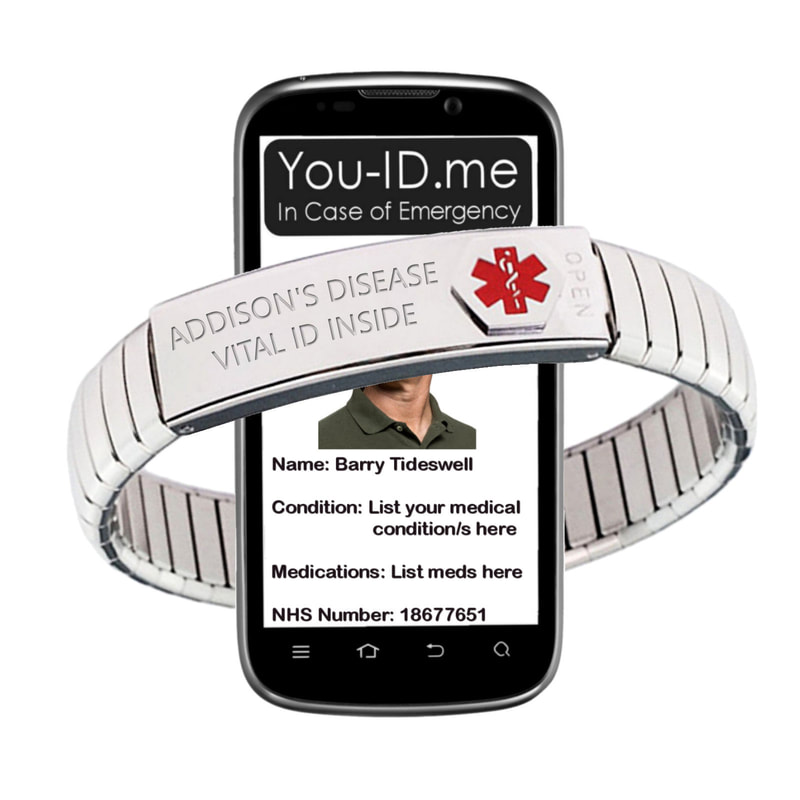 Medical alert bracet for man or woman with addison's disease