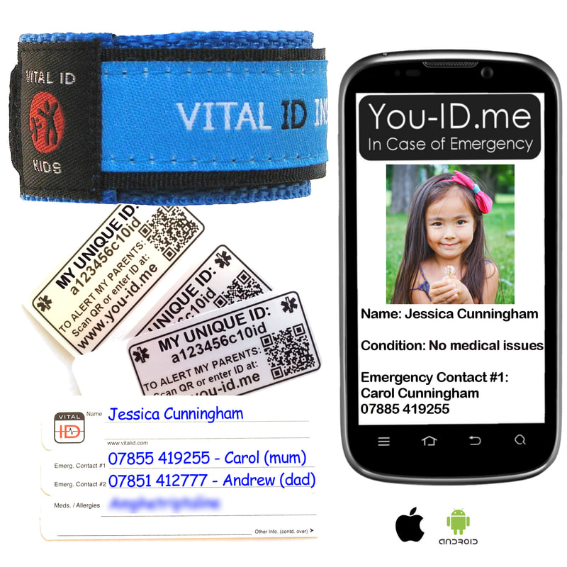 Red IDme safety identity wristband