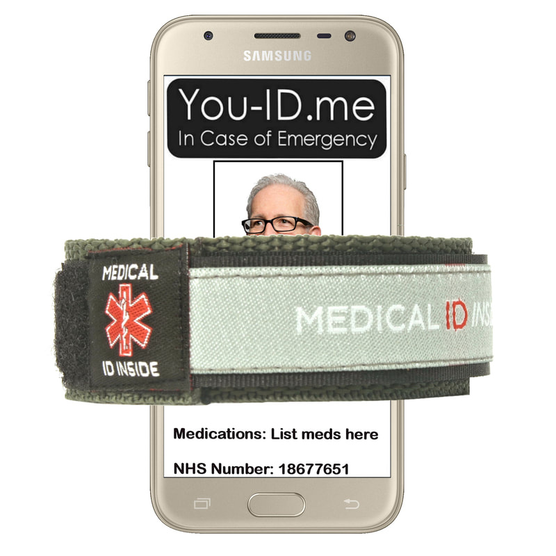 Green/grey medical alert bracelet shown with smartphone