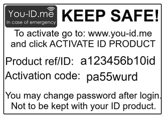 keep all your items that arrive with your emergency ID product