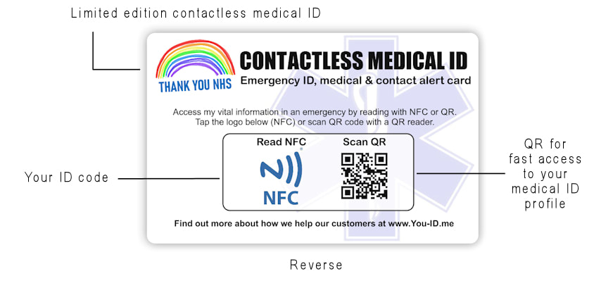 Front of contactless touch free emergency medical alert wallet card with bullet pointed features list