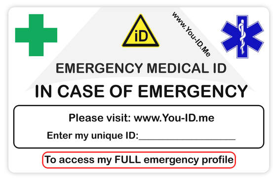 medical ID wallet card in case of emergency.