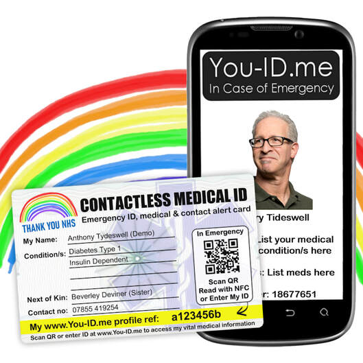 Contactless medical identity and alert card by You ID Me. Limited Edition Thank You NHS Coronavirus COVID-19 NHS Charities Together UK