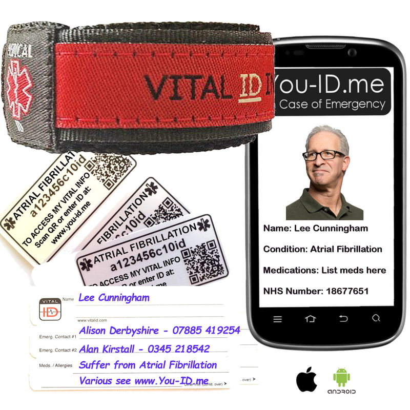 Atrial fibrillation medical ID products; bracelet, necklace, dog tags etc.