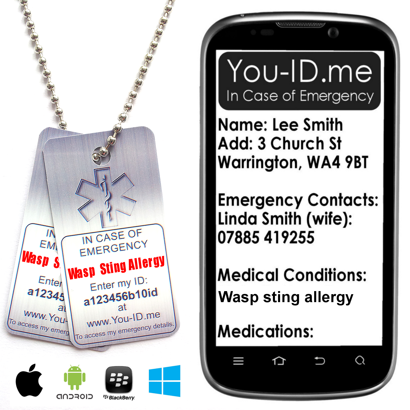 Wasp Sting Allergy Dog Tag Necklace