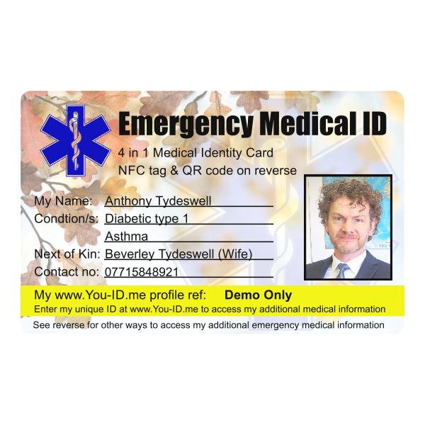 Emergency Medical Identity Id Card 4 In 1 Nfc And Qr