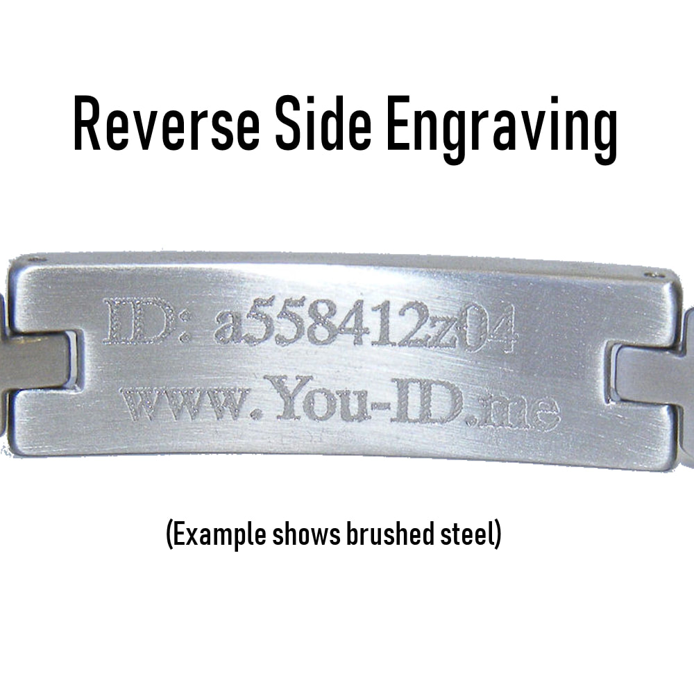 Mens engraved emergency alert bracelet